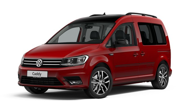 Volkswagen Caddy Edition 35, цвет Cherry Red Black roof